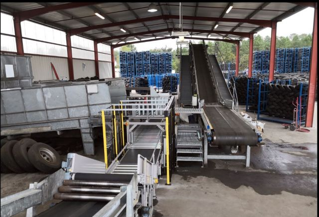 Modification of a Waste Tyre sorting  installation fitted with dynamic weighing system